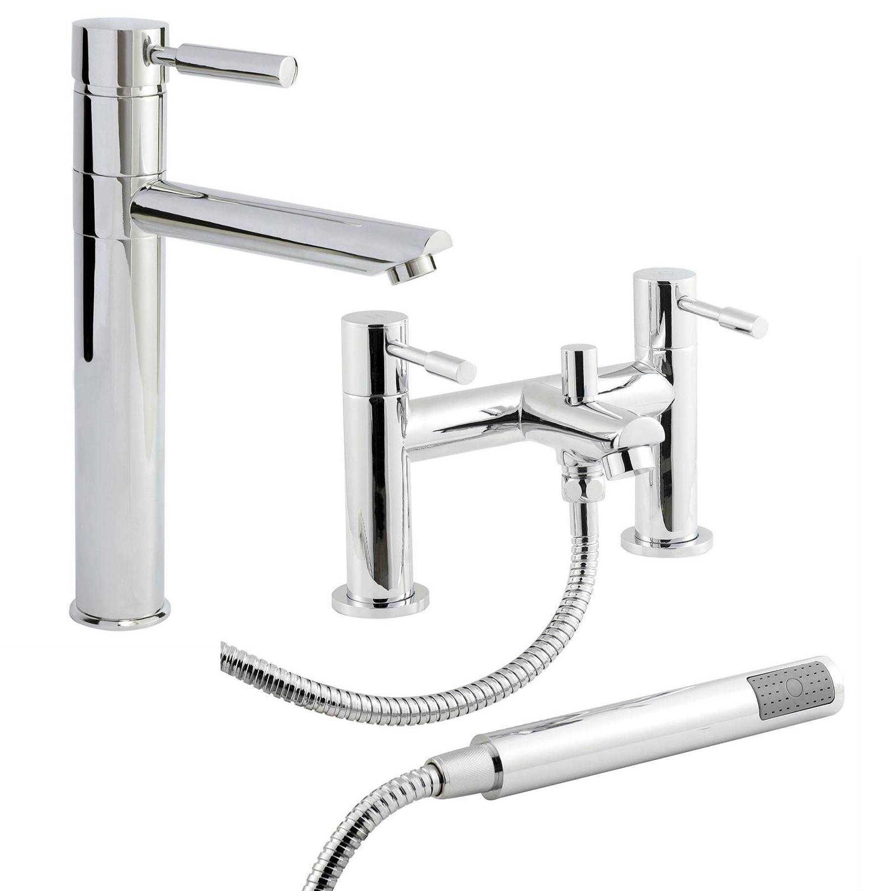 Royal Bathrooms Premier Series 2 Bath Shower Mixer with Shower Kit & Mono High Rise Basin Tap with Swivel Spout Pack