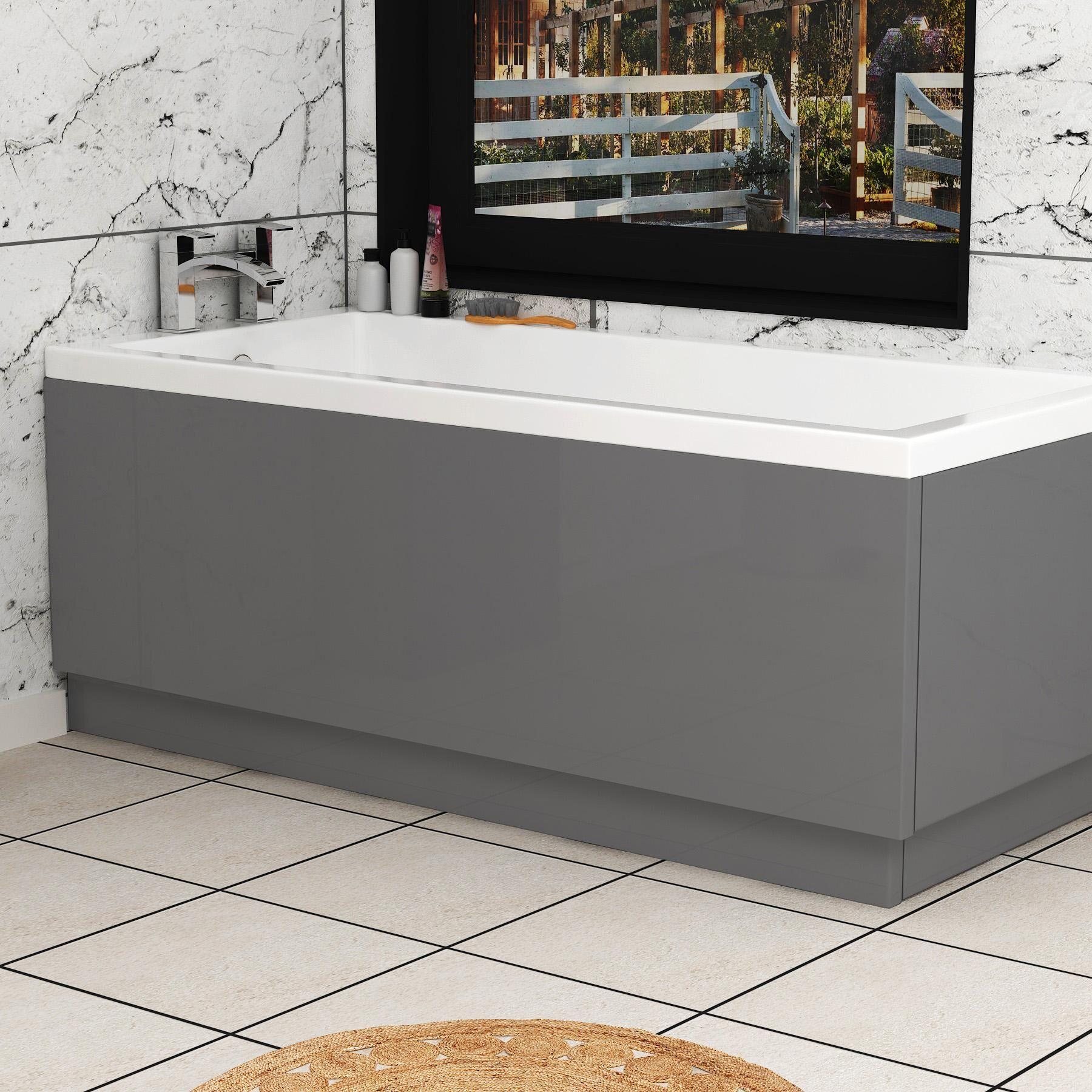 Royal Bathrooms Turin 1700mm Indigo Grey Gloss MDF Front Bath Panel - Wooden