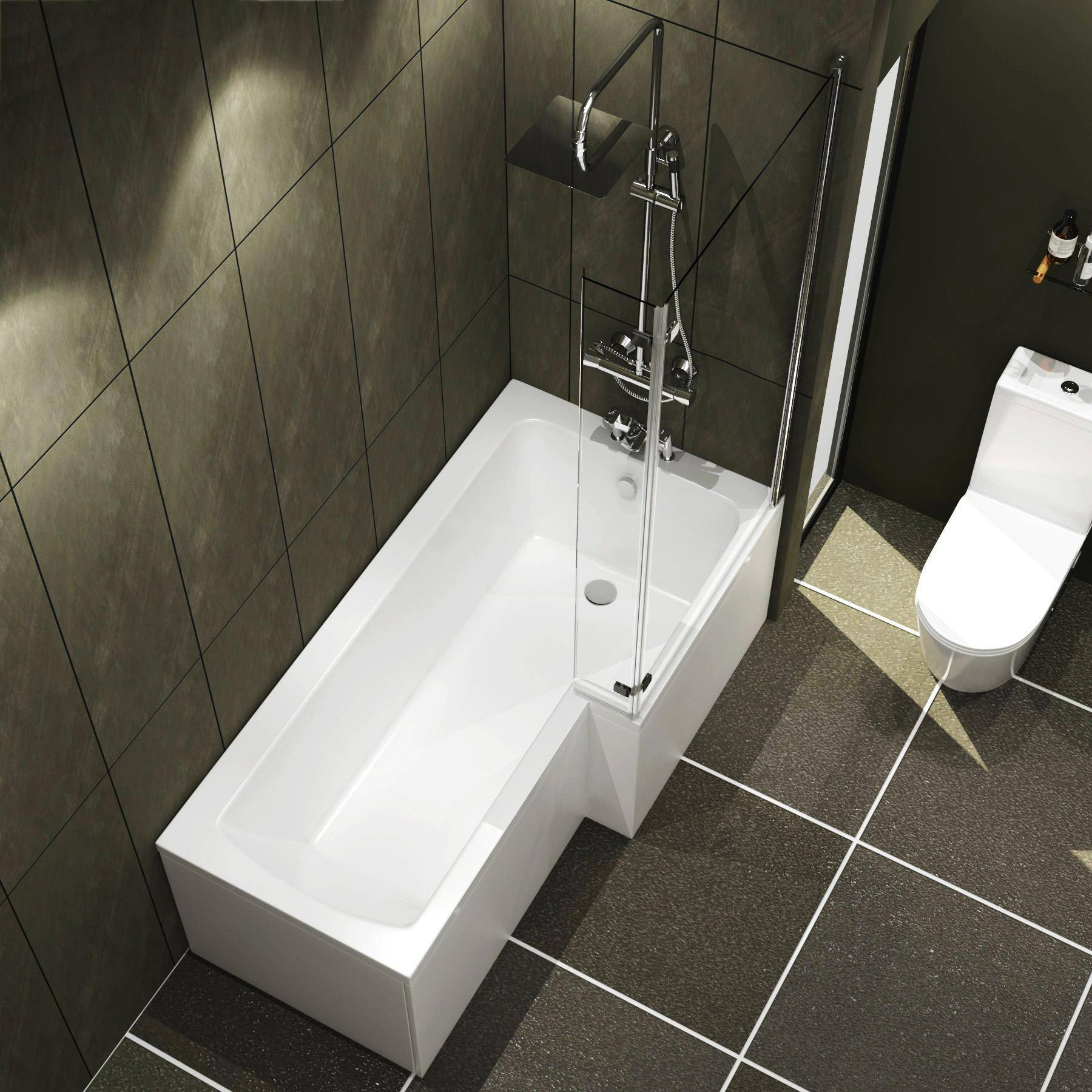Royal Bathrooms Qubix 1500 x 850mm Right Hand L Shaped Shower Bath tub with Hinged Screen with Flipper End Panel & Front Panel