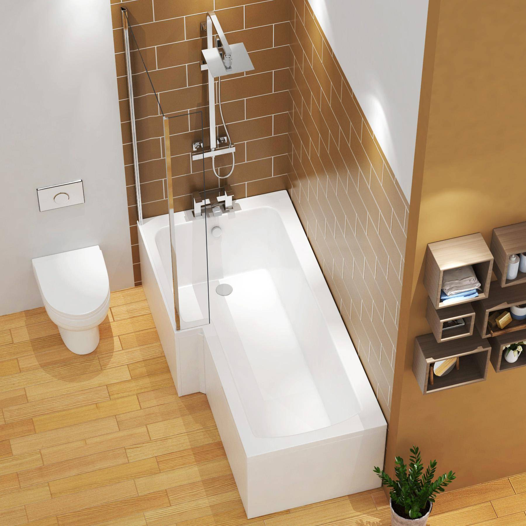 Royal Bathrooms Qubix 1600 x 850mm Left Hand L Shaped Shower Bath tub with MDf Front, End Panel & Shower Screen