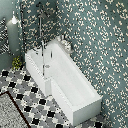 Royal Bathrooms Qubix 1700 x 850mm Left Hand L Shaped Shower Bath tub with Side, End Panel & Shower Screen