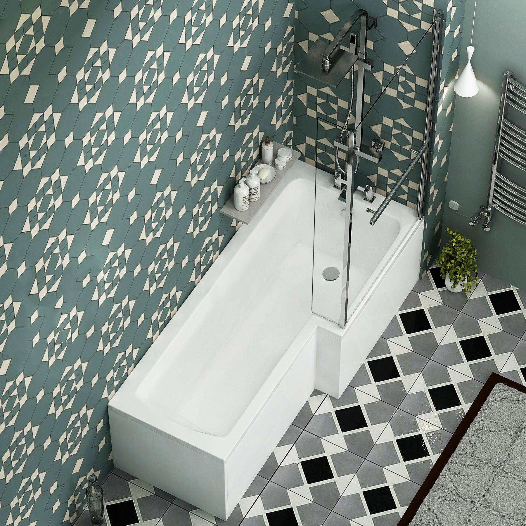 Royal Bathrooms Qubix 1500/1600/1700mm Right Hand L-Shaped Shower Bath tub with Shower Screen, Side & End Panel