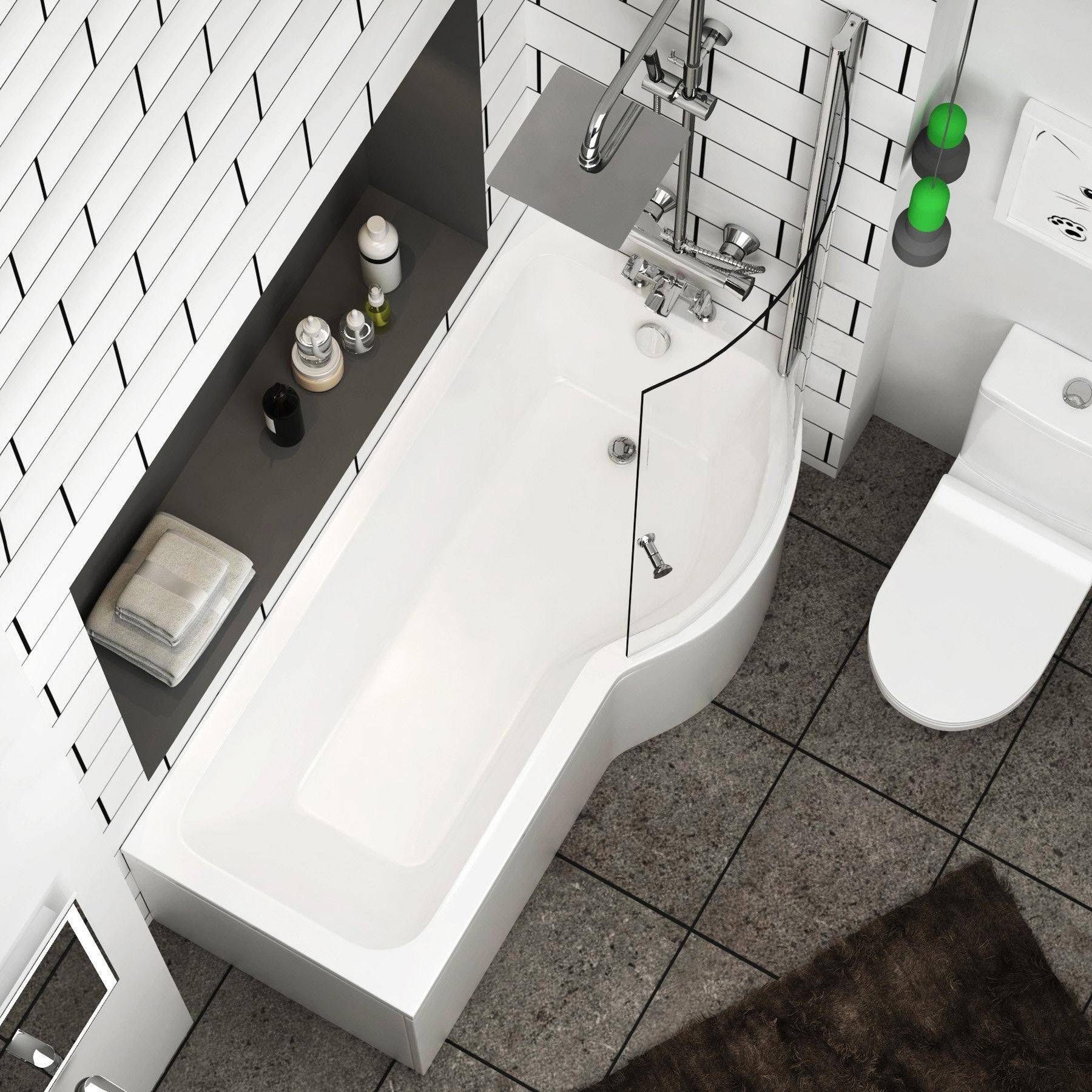Royal Bathrooms Abacus 1700 x 850mm Right Hand Curved P-Shaped Bath tub with Front, End Panel & Shower Screen