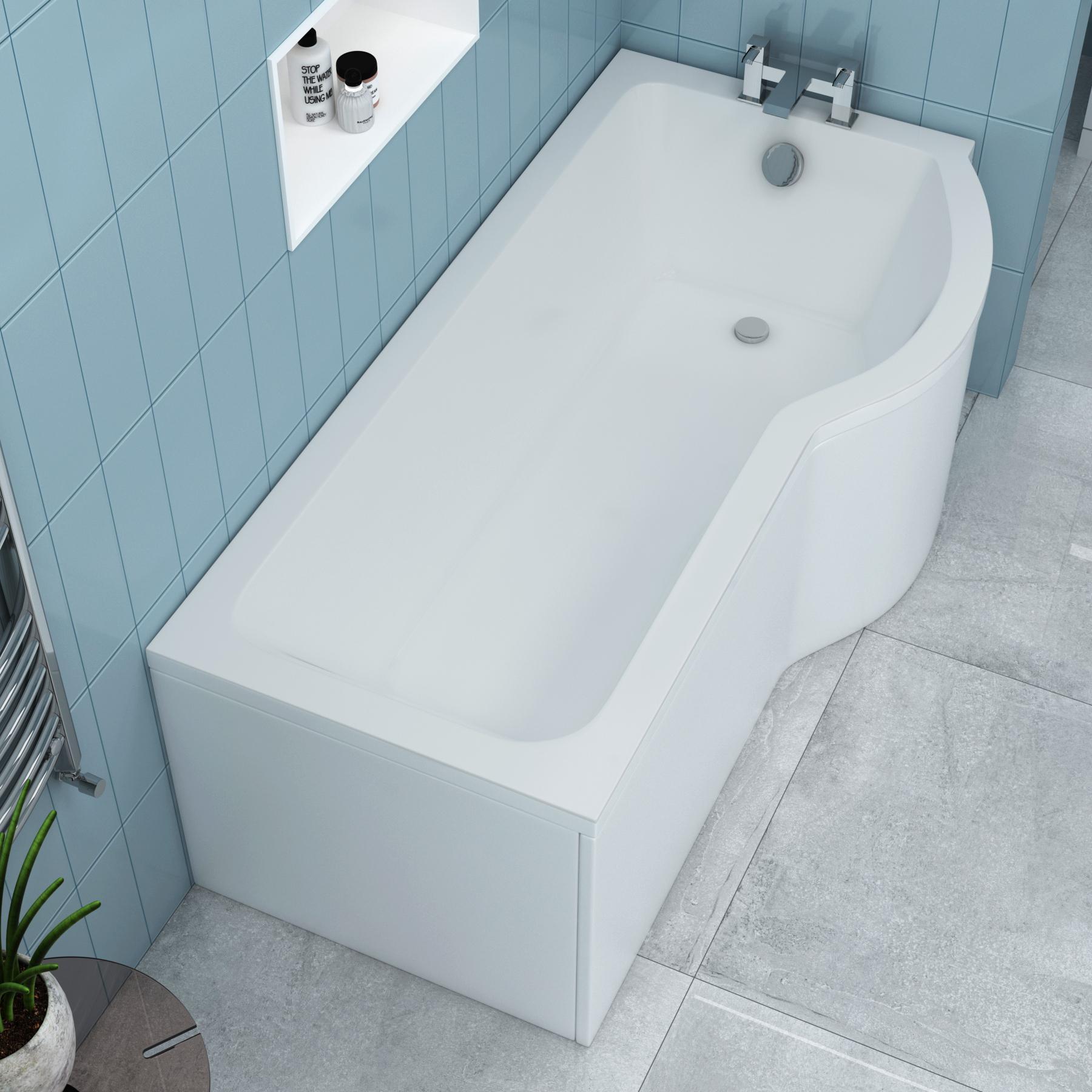 Royal Bathrooms Abacus 1700 x 850mm P-Shaped Right Hand Shower Bath tub with Leg Set