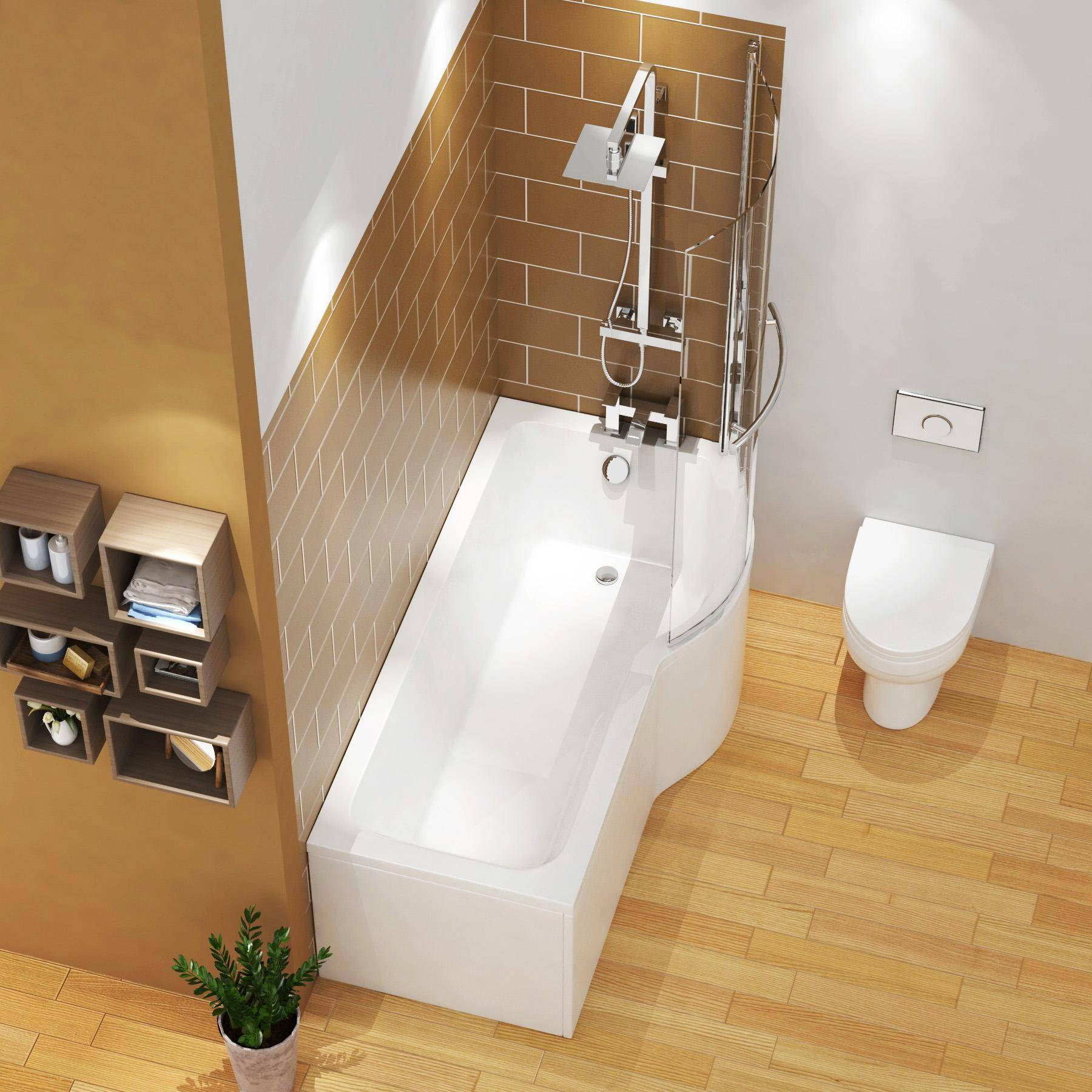 Royal Bathrooms Abacus 1600 x 850mm Right Hand Curved P-Shaped Shower Bath tub with Front, End Panel & Shower Screen with Towel Rail