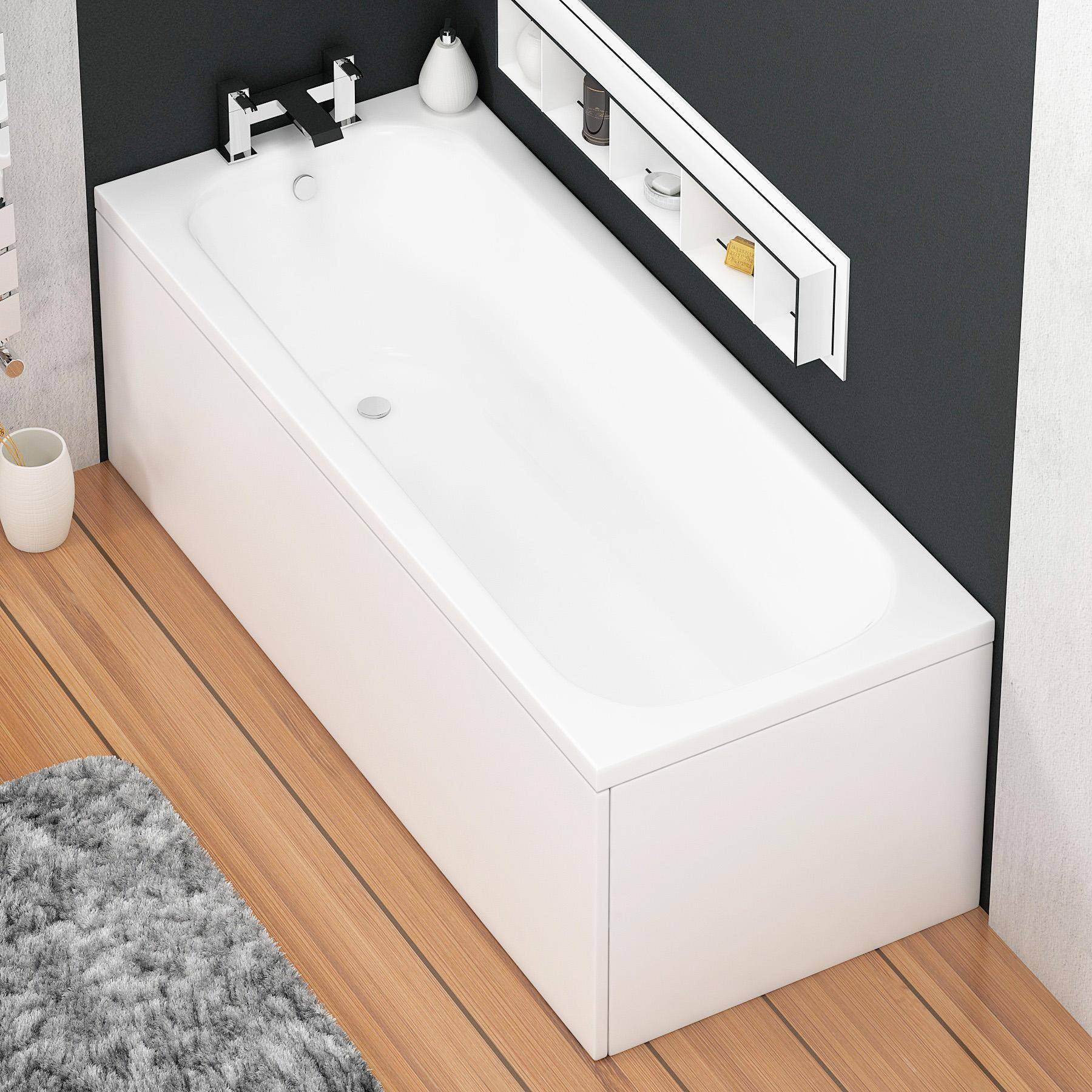 Royal Bathrooms Breeze Round Single Ended Bath 1700 x 750mm Acrylic Inc Front & End Panel