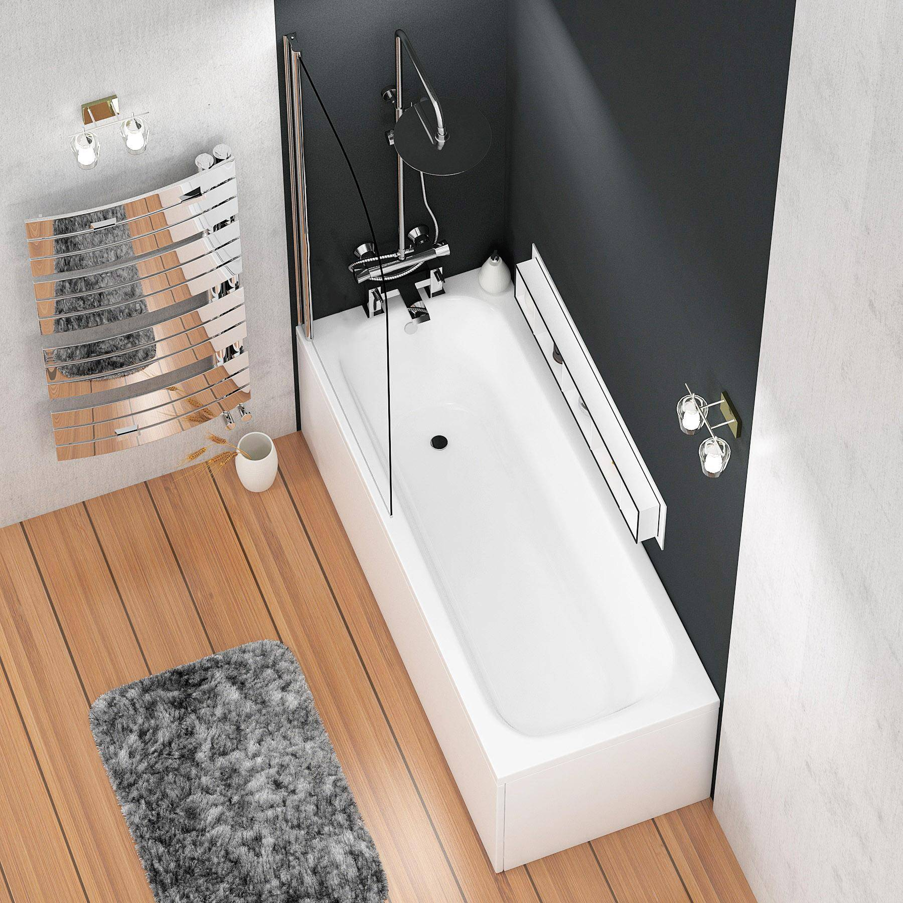 Royal Bathrooms Breeze Round Single Ended Shower Bath 1700 x 750mm Acrylic Inc Shower Bath Screen + Front and End Panel