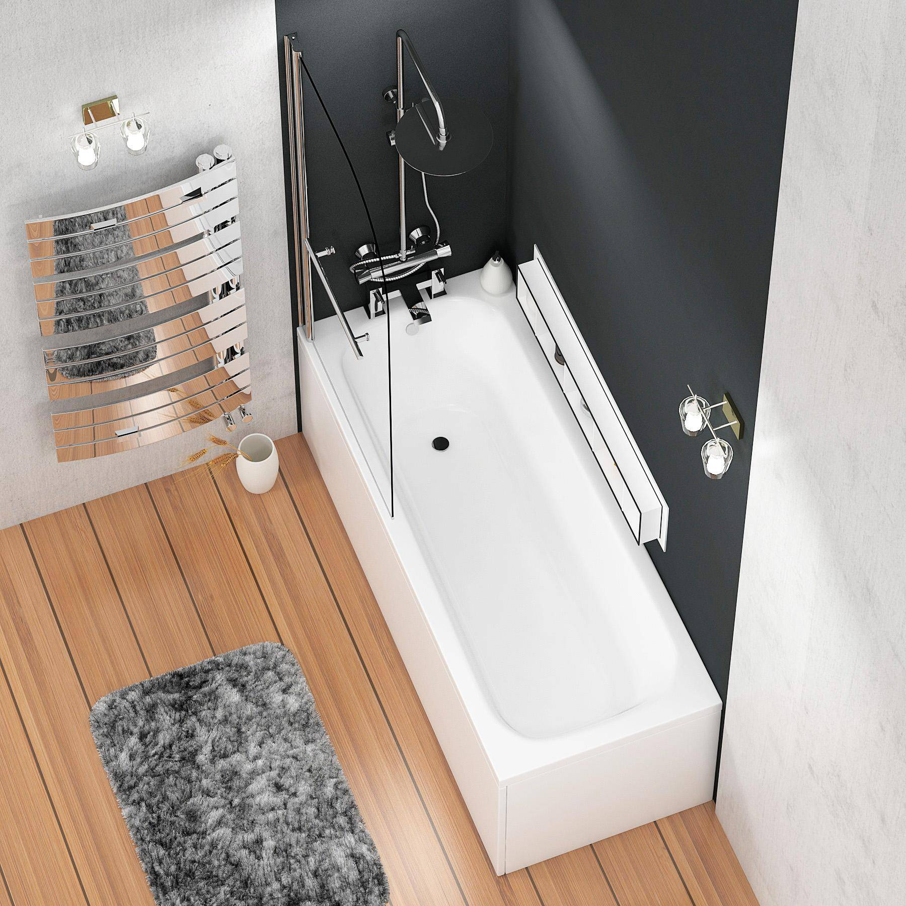 Royal Bathrooms Breeze Round Single Ended Shower Bath 1800 x 800mm Acrylic Inc Round Top Shower Bath Screen with Towel Rail + Front and End Panel