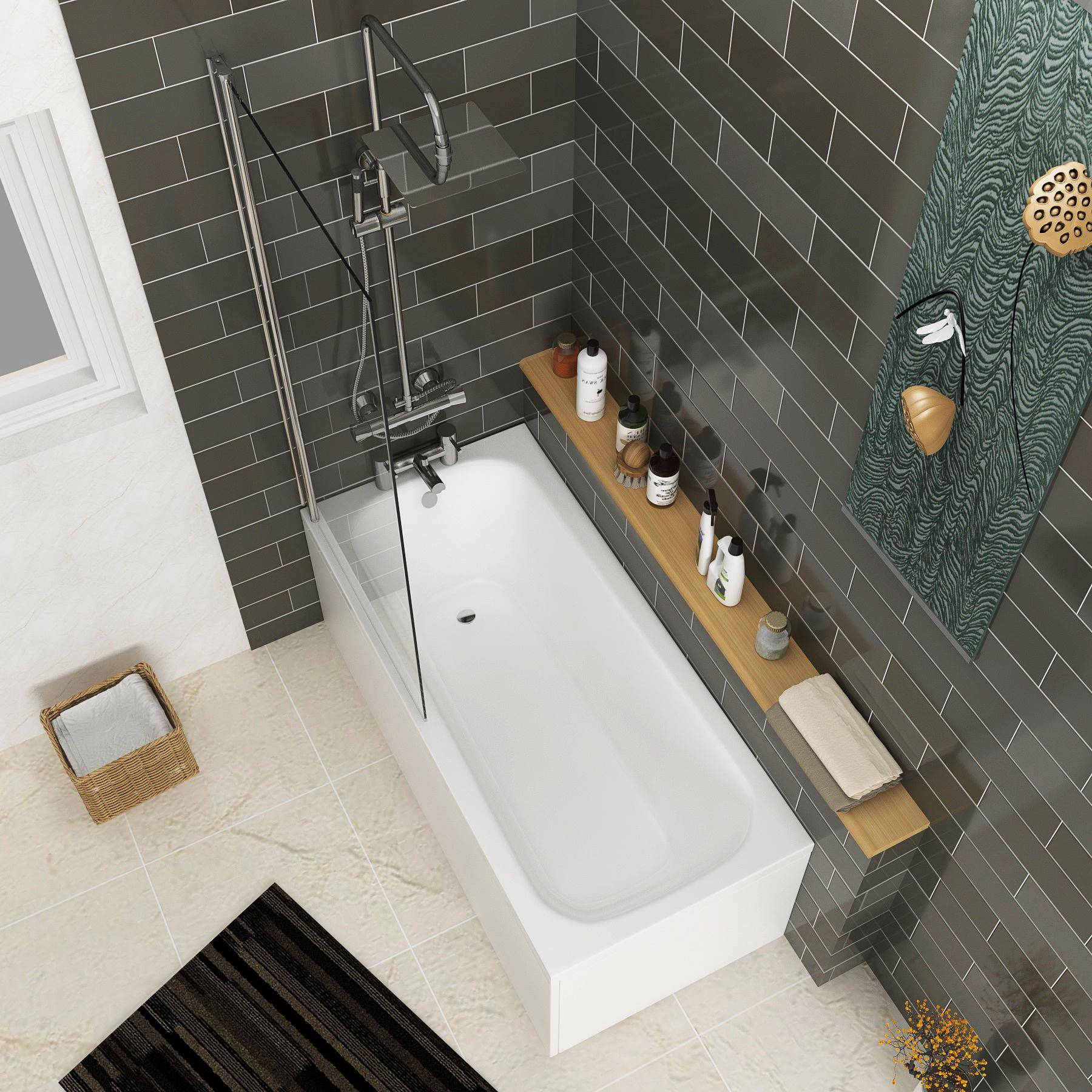 Royal Bathrooms Breeze Round Single Ended Shower Bath 1800 x 800mm Acrylic + Square Shower Bath Screen
