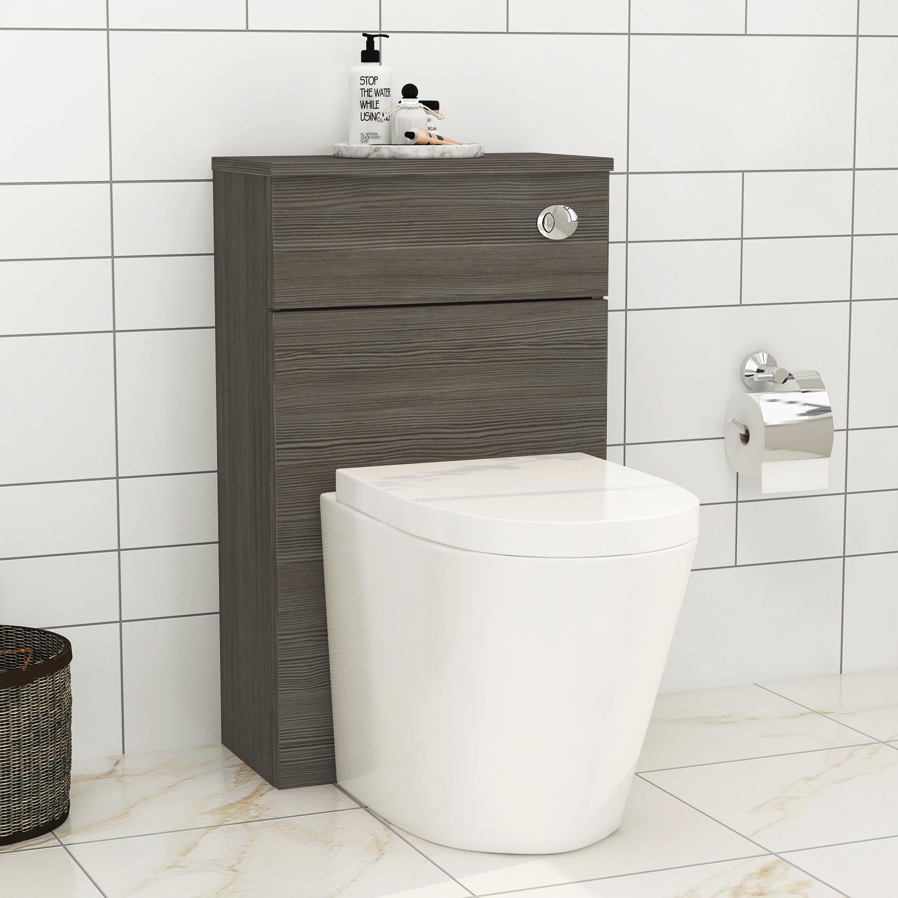 Royal Bathrooms 500mm Grey Elm BTW WC Unit with Cesar Rimless Toilet Pan & Seat, Cistern