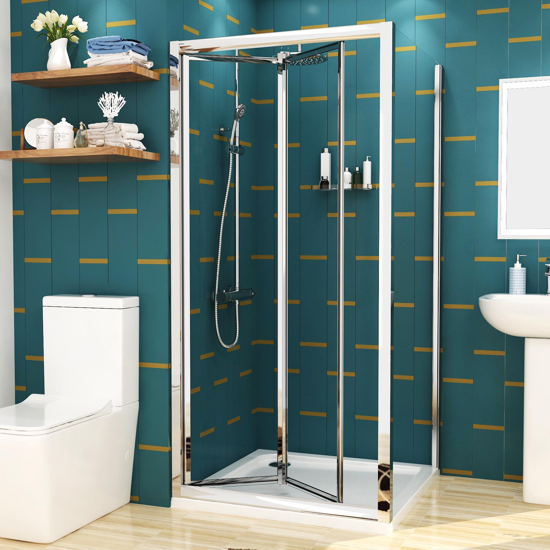 Royal Bathrooms Elite 800 x 800mm Square Bi-fold Shower Enclosure 4mm Glass