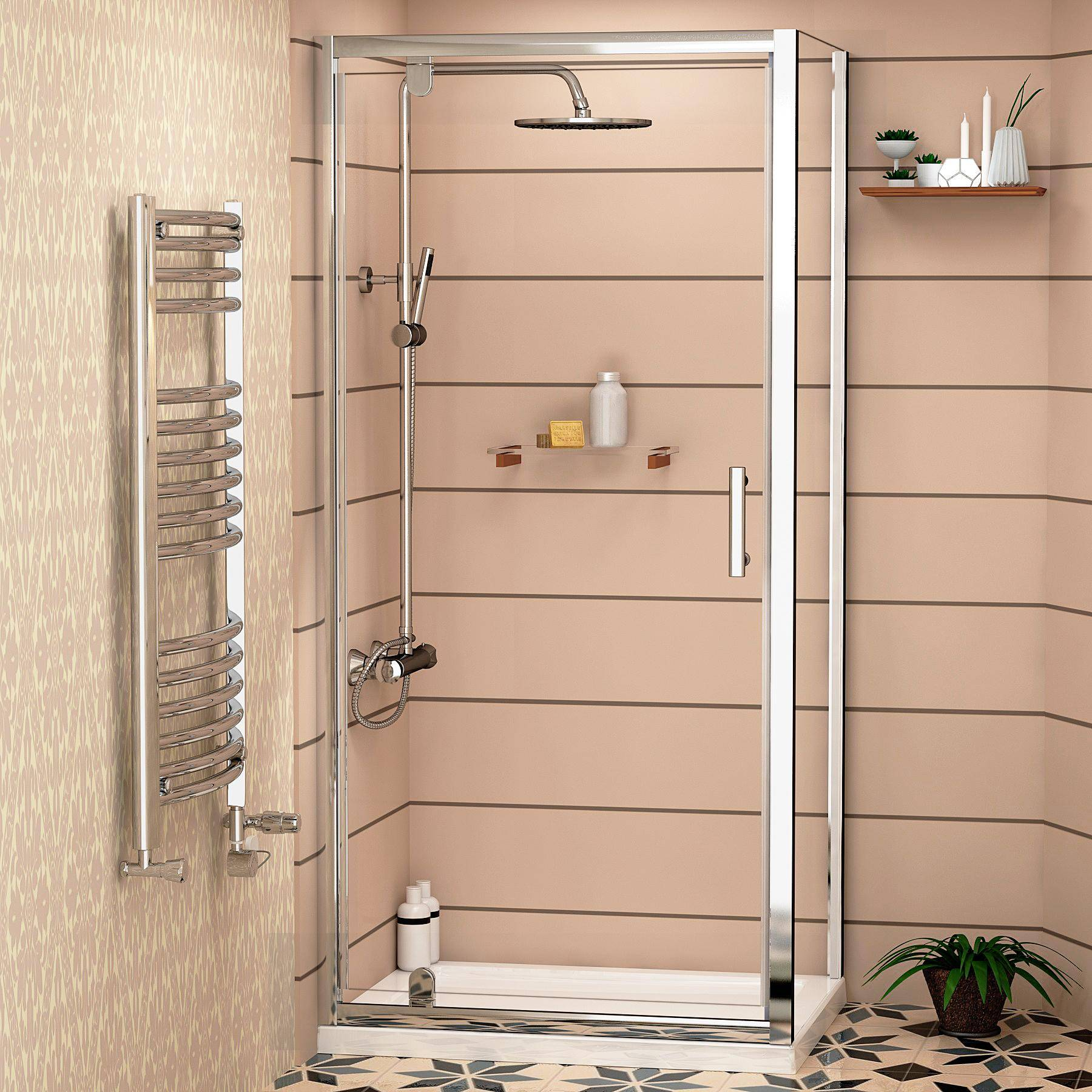 Royal Bathrooms Cube 6mm Square Pivot Door Shower Enclosure with Shower Tray 800 x 800mm