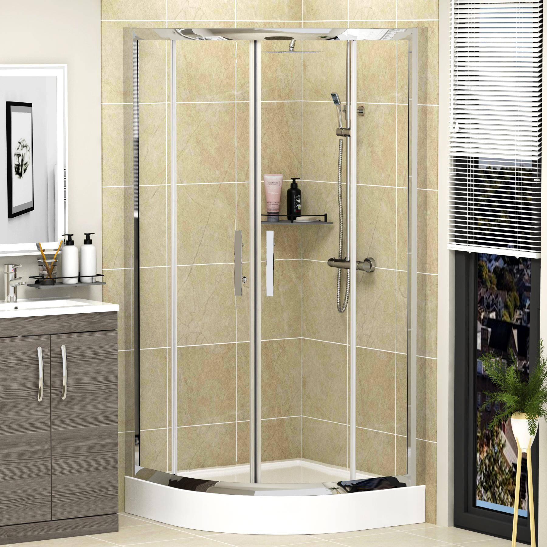Royal Bathrooms Imperial 800mm Quadrant Shower Enclosure with High Tray - 6mm Double Door