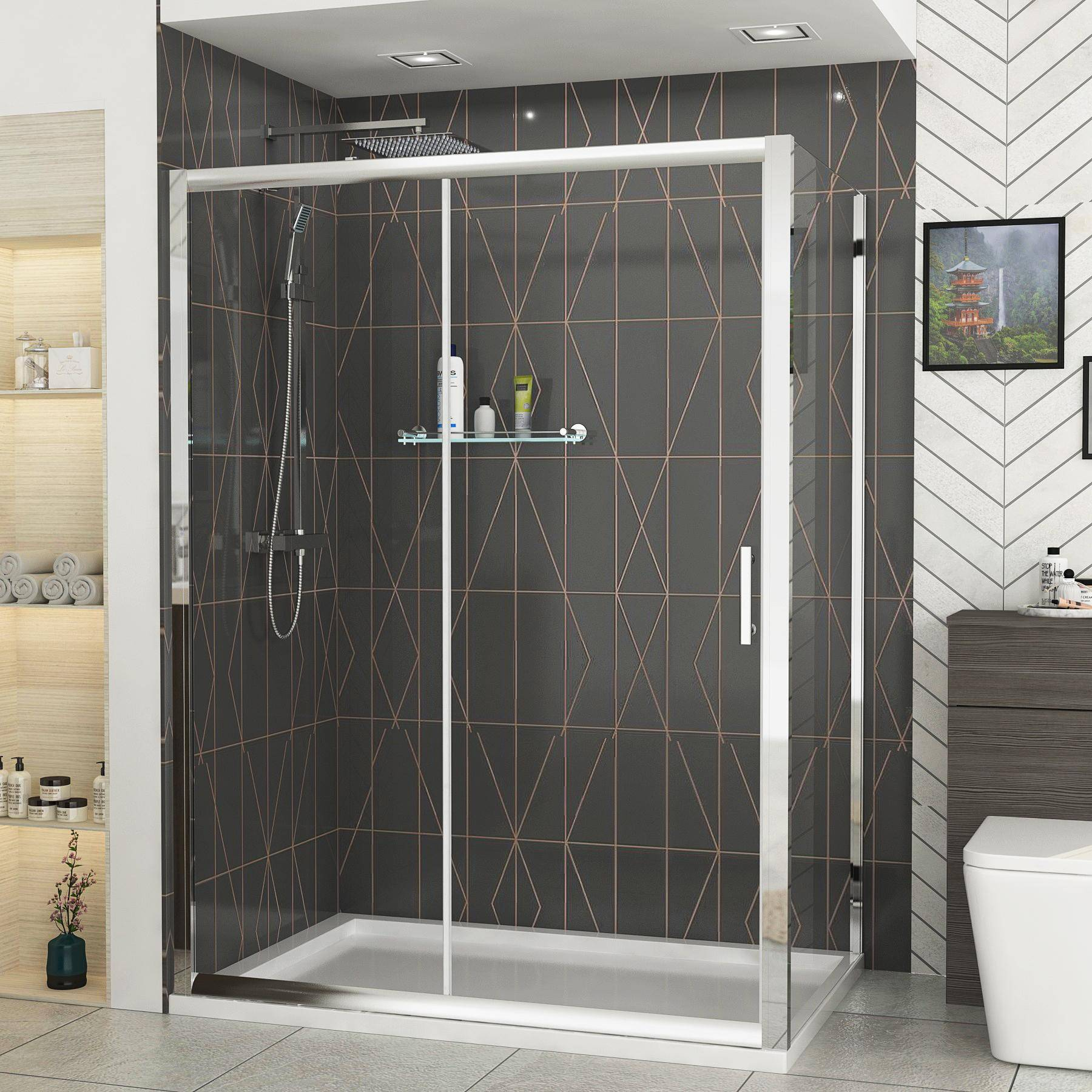 Royal Bathrooms Grand 1200 x 900mm Sliding Door Rectangle Shower Enclosure wih Pearlstone Tray