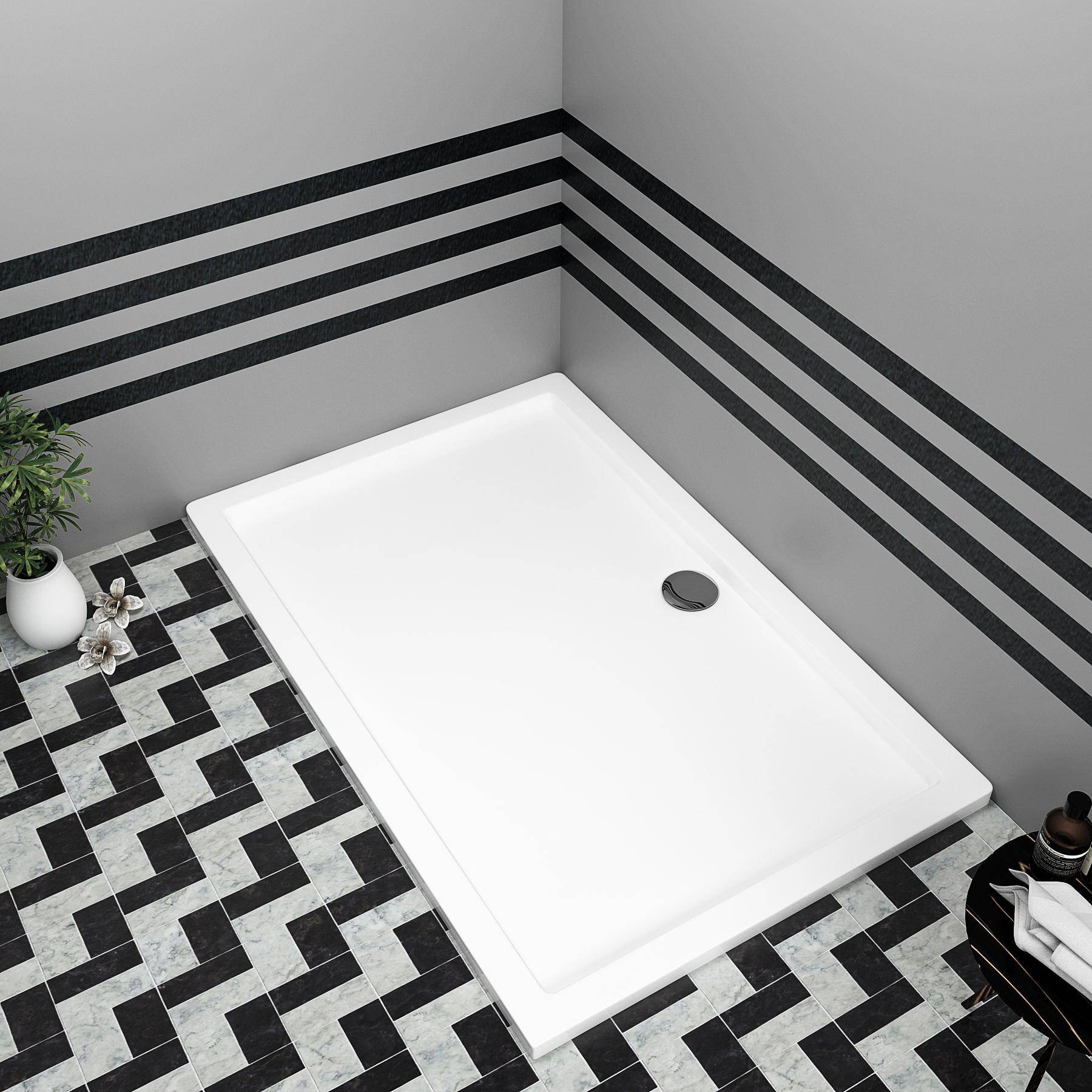 Royal Bathrooms Hudson Reed Rectangular Pearlstone Shower Tray for Shower Enclosures with Riser Kit - upto 1800mm