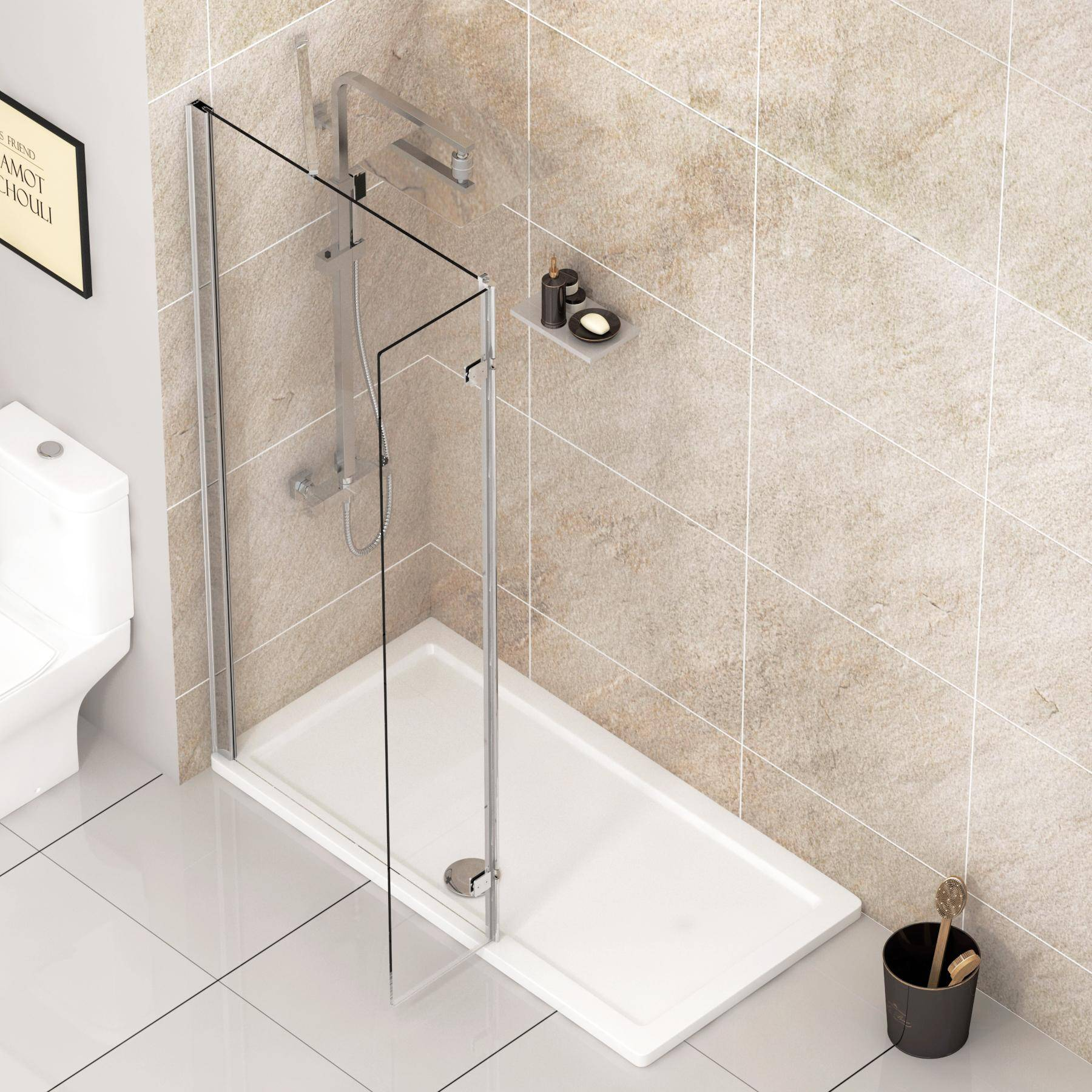 Royal Bathrooms 8mm Marbella 1100mm Wet Room Walk In Shower Screen + Flipper Panel - Easy Clean