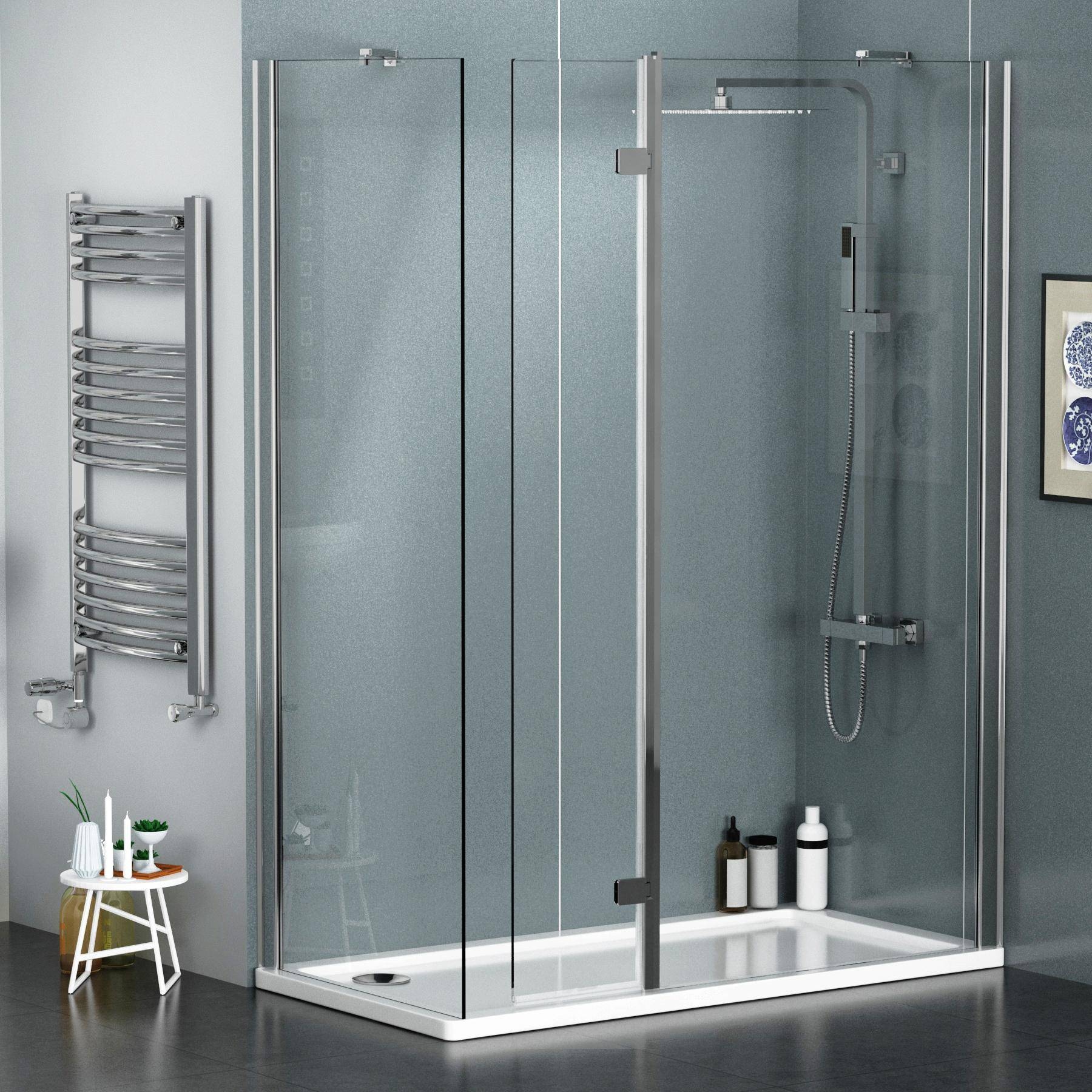 Royal Bathrooms 8mm 1100 x 700mm Walk In Shower Enclosure with Shower Tray + Flipper Panel
