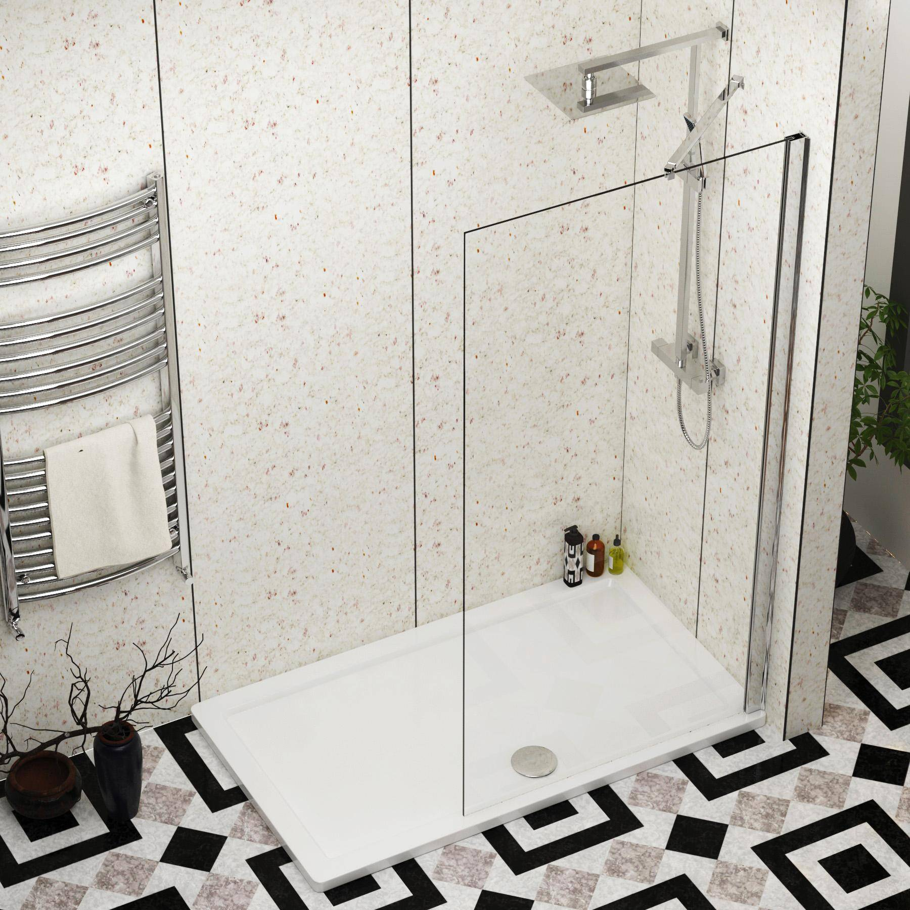 Royal Bathrooms Marbella 900mm Walk In Wet Room Shower Screen with Pearlston Tray 1700x800mm - Easy Clean