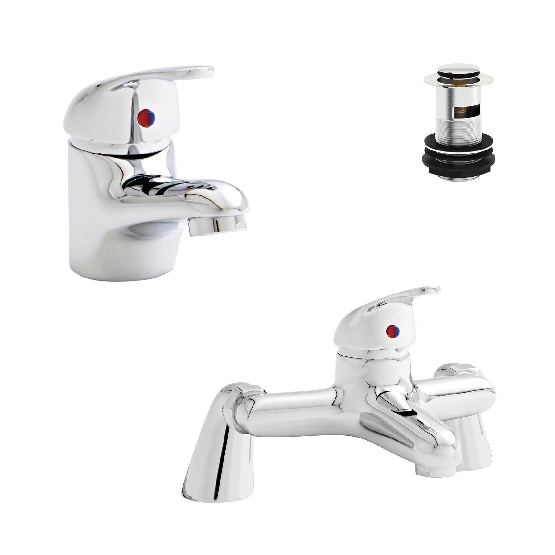 Royal Bathrooms Kartell G4  Bath Filler And Mono Basin Sink Mixer Tap  Bathroom Set with Free Waste Solid Brass - Chrome