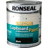 Ronseal - One Coat Cupboard Paint - 750ml - Black Gloss