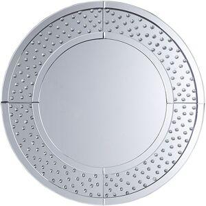 Beliani - Modern Round Wall Mirror Frame 70 cm Living Room Hallway Silver Bourges