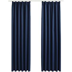vidaXL Blackout Curtains with Hooks 2 pcs Blue 140x225 cm - Blue