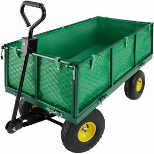 NO_BRAND Garden trolley with inner lining max. 550kg - garden cart, beach trolley, trolley cart - green