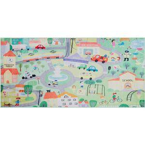 Beliani - Kids Rug City Town Print Playmat Playroom 80 x 150 cm Green Kemer