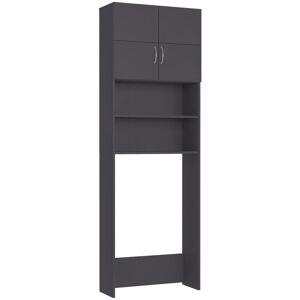 VIDAXL Washing Machine Cabinet Grey 64x25.5x190 cm Chipboard - Grey - Vidaxl