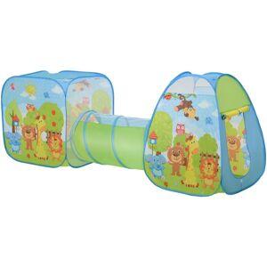 HOMCOM Pop-Up Play Tunnel House 3-in-1 Foldable Colourful Animals Fun Activity - Homcom