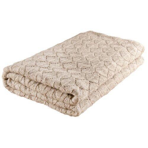 Nord Snow  Leaves Style Merino Wool Blanket Parsnip