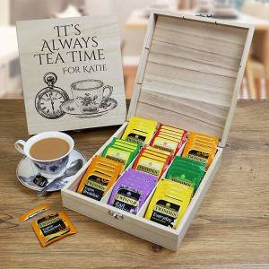Personal Prezzies Personalised Wooden Tea Chest With 9 Compartments