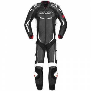 Spidi Track Wind Pro One Piece Motorcycle Leather Suit Black White 54