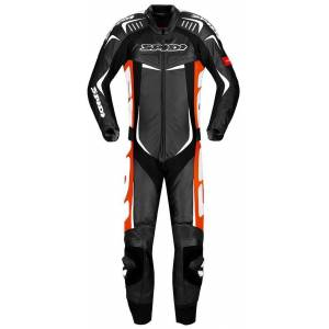 Spidi Track Wind Pro One Piece Motorcycle Leather Suit Black White Red 46