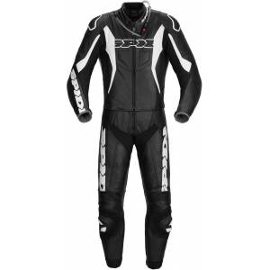 Spidi Sport Warrior Touring Two Piece Motorcycle Leather Suit Black White 58