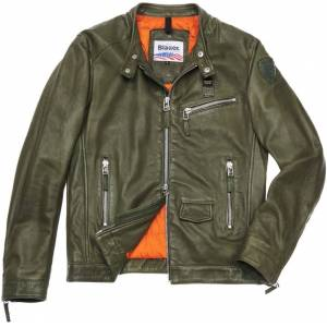 Blauer USA Alberto Leather Jacket  - Green - Size: S