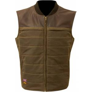 Merlin Stowe Motorcycle Waxed Vest  Green Size: