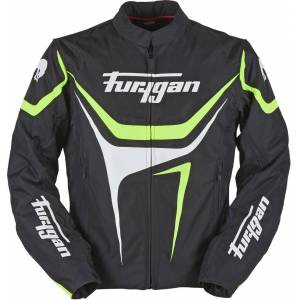 Furygan Oggy Motorcycle Textile Jacket  - Black White Green - Size: S