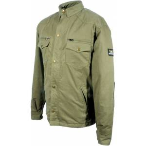 Bores Military Jack Olive Motorcycle Shirt  - Green - Size: S