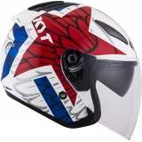 KYT Hellcat Star Jet Helmet  - White Red Blue - Size: XS