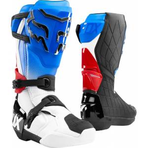FOX Comp R Motocross Boots White Red Blue 50