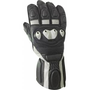 Bores Rider Leather Gloves  - Black White - Size: 2XL