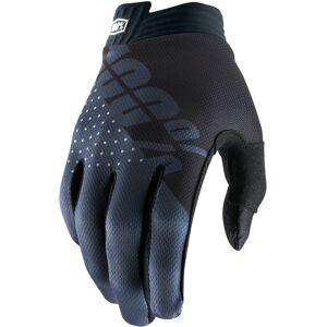 100% itrack Youth Gloves Black Grey L