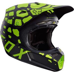 Fox V3 Grav Motocross Helmet  - Black Yellow - Size: M