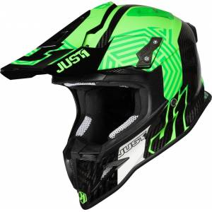 Just1 J12 Syncro Carbon Motocross Helmet  - Black Green - Size: M