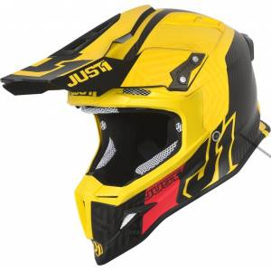 Just1 J12 Syncro Carbon Motocross Helmet  - Black Yellow - Size: M