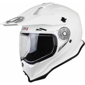 Just1 J14 Adventure Solid Motocross Helmet  - White - Size: M