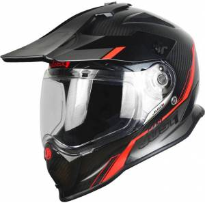 Just1 J14 Adventure Line Motocross Helmet  - Black Orange - Size: M