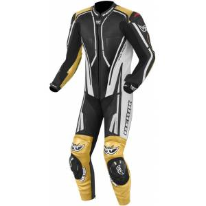 Berik Adria-X One Piece Motorcycle Leather Suit  Black White Gold Size: