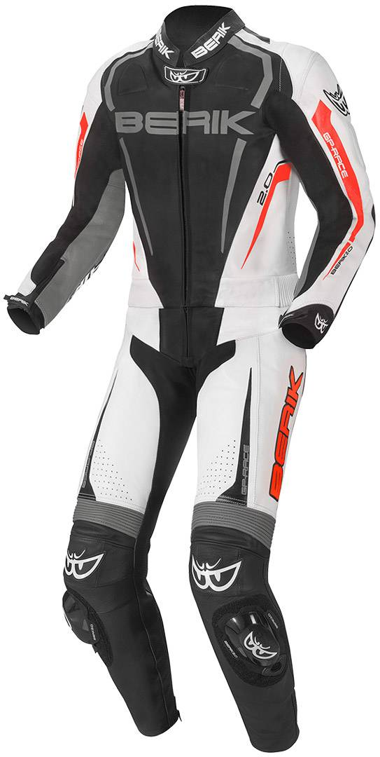 Berik Race-X Two Piece Motorcycle Leather Suit Black Grey Red 56